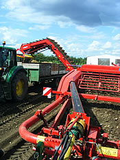 RyGrimme GT170S harvester behind JD 6630 Premium loading JD6530 Premium with trailer and potato boxes